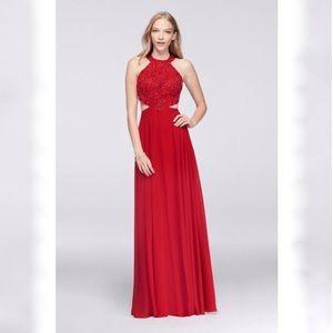 Betsy & Adam Red Crystal-beaded Bodice Dress